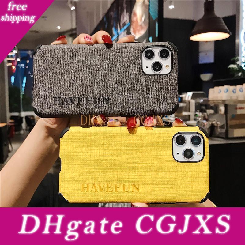 Have Fun Téléphone mobile pour iPhone 6 6splus 7 8plus X Xr Max 11Pro 11promax Silk Grain gaufrée Soft Shell