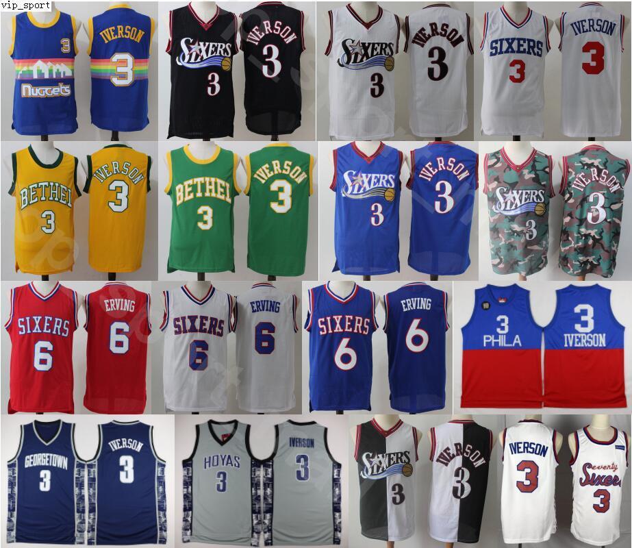Georgetown Hoyas Colegio Allen Iverson jerseys Hombres Baloncesto Dr. J Julius Erving Wilt Chamberlain Azul Negro Blanco Rojo de la buena calidad