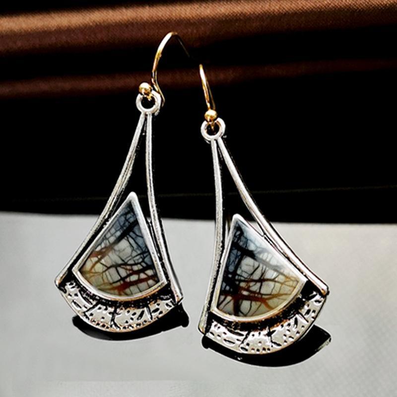 Vy9EP Rongyi beliebte Picasso gefärbt und glasierten kreative Ohrringe Birkenblatt Farbtrennung Ohrringe für Frauen