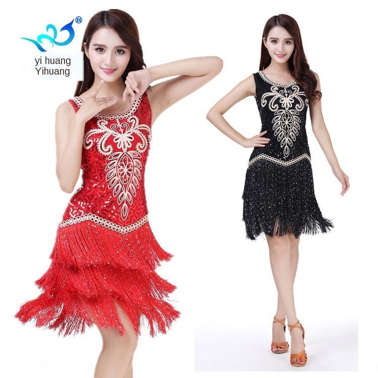 CCVms Latin ärmellos Pailletten Rock Quadrat Kleid Tanz-Performance Quaste Rock Tanzwettbewerb moderne Quaste kleidet Kostüm Kostüm