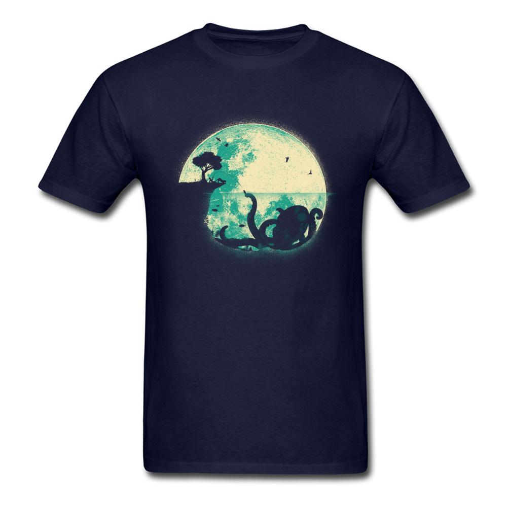 Big One Tişört Canavar T Gömlek Baskı Erkekler Tişörtler Retro Ahtapot Grubu Tees Giyim O-Boyun% 100 Pamuk Siyah Bırak Tops