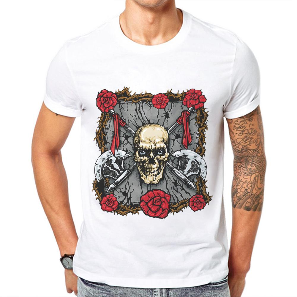 Schädel-T-Shirt für Männer Skeleton T-shirts Blumen-T-Shirt aus 100 Cotton Lustige 3D-T-Shirt Mann Hip Hop Herrenkleidung Schädel Kopf Spitzen T