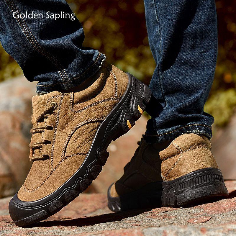 Goldene Schössling Outdoorschuh Männer echtes Leder weicher Gummi Tactical Boots Comfort Berg Trekking Wanderschuh Herren Sneakers