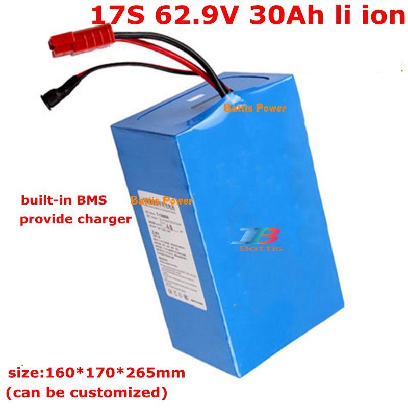 62,9 30Ah Lithium-Batterie 62v 30ah 1500W für 60v Elektrofahrzeug ebike Roller 2000w + 5A Ladegerät mit BMS zu packen