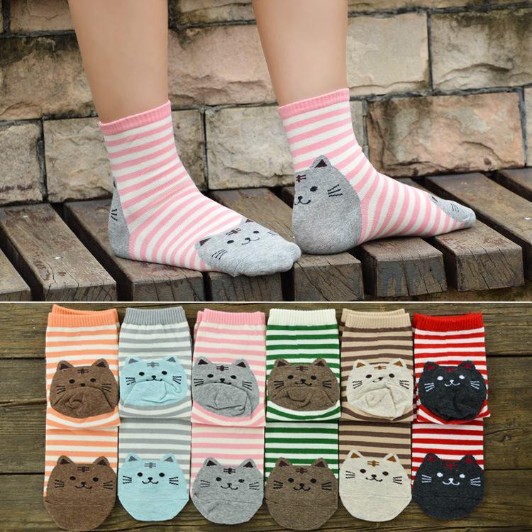 Sonbahar Kış Kadın Çorap Örme Pamuk Şirin Kawaii Karikatür Hayvan Kedi Stripes Kadın Kız Öğrenci 2020 Yeni Moda için gündelik Çorap