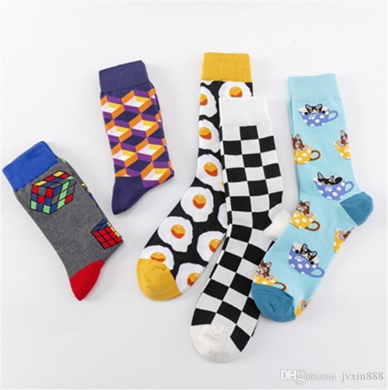 Высокая мода зимняя комбинация середина теленка носки жаккардовые полоса осень счастливые красочные вареные носки с хлопковым качеством яичный кубик сетки CXXLG
