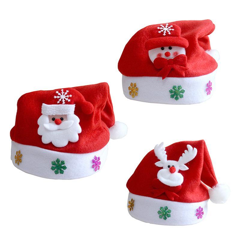 2020 nuevo chico de Navidad Sombrero de Navidad Adornos para sombreros de los niños del partido Puntales Santa Claus muñeco de nieve del reno