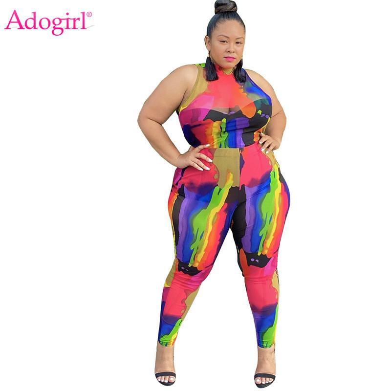 Tute da donna ADOGIRL PRINTRY Plus Size Donne Donne Due Piece Set XL-5XL Scuoto con scollo a Mock Shirt Senza maniche Top Pantaloni Pantaloni Pantaloni Night Club OU