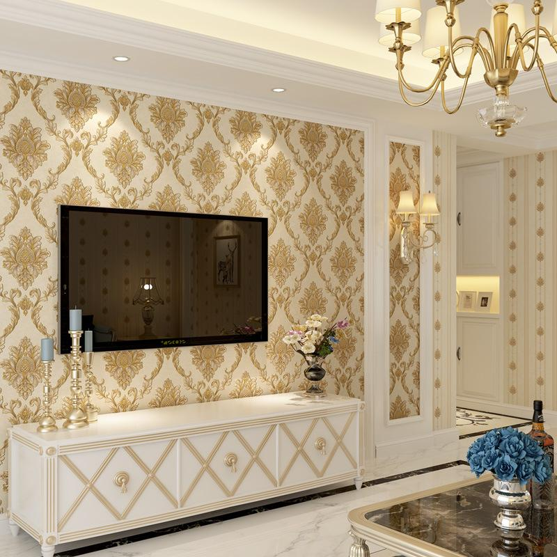 European Style Embossed Florals Pattern Wallpapers Non Woven Damask Flowers Wallpapers Rolls Living Room Bedroom Home Decoration