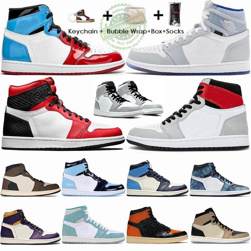 Nike Air Jordan 1 retro 2020 1 높은 OG 트래비스 스콧 초 농구 신발 겁 확대 레이서 블루 흑요석 UNC 남성 트레이너 정 11S 스포츠 스니커즈 상자