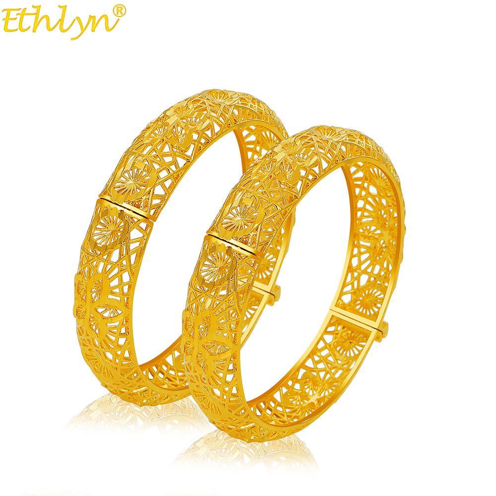 2pcs / lot de los brazaletes de África para la joyería de oro de color Dubai de la mujer etíope brazalete pulseras Árabe Nupcial regalos / Mom regalos MY37