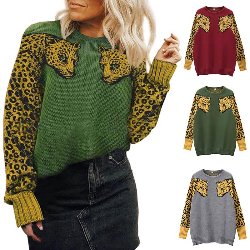 Women Sweaters Autumn Winter Knit Pullover Top Ladies Long Sleeve Round Collar Sweatshirts Fashion Leopard Sweaters 050811