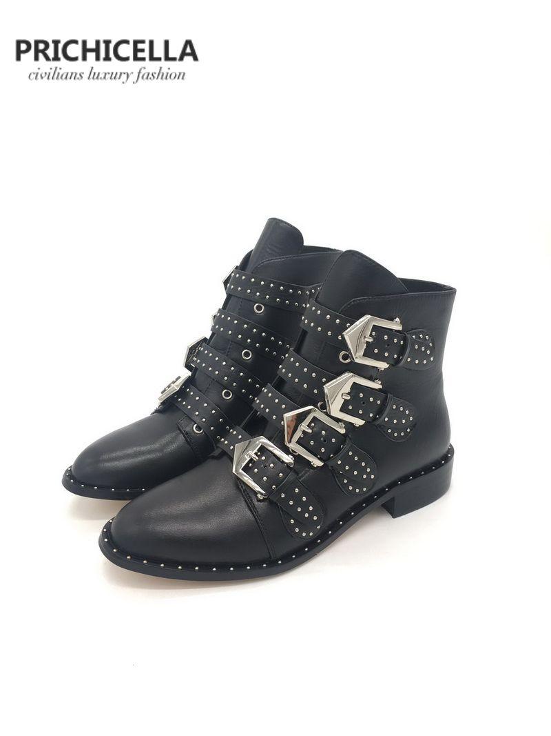 PRICHICELLA натуральная кожа шипованных пряжки ремень лодыжки пинетки женские квартиры армейские ботинки Y200723