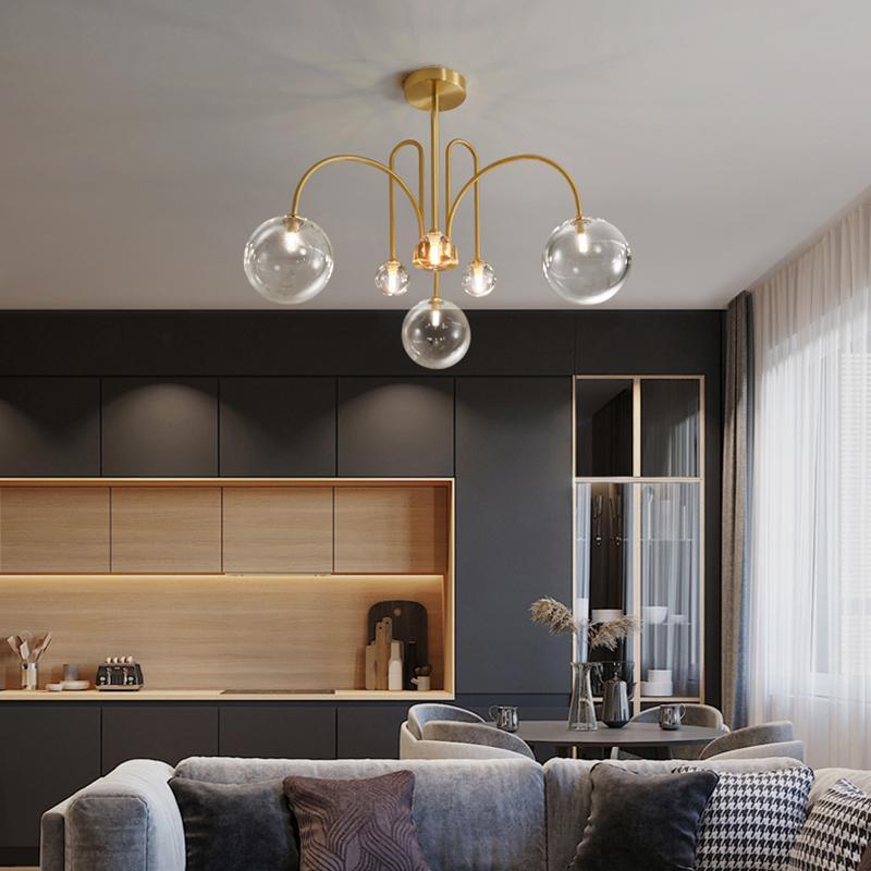 Nordic современного полного медных волшебного ресторана боба светильник спальни творческая личность простой гостиная молекулярная люстра