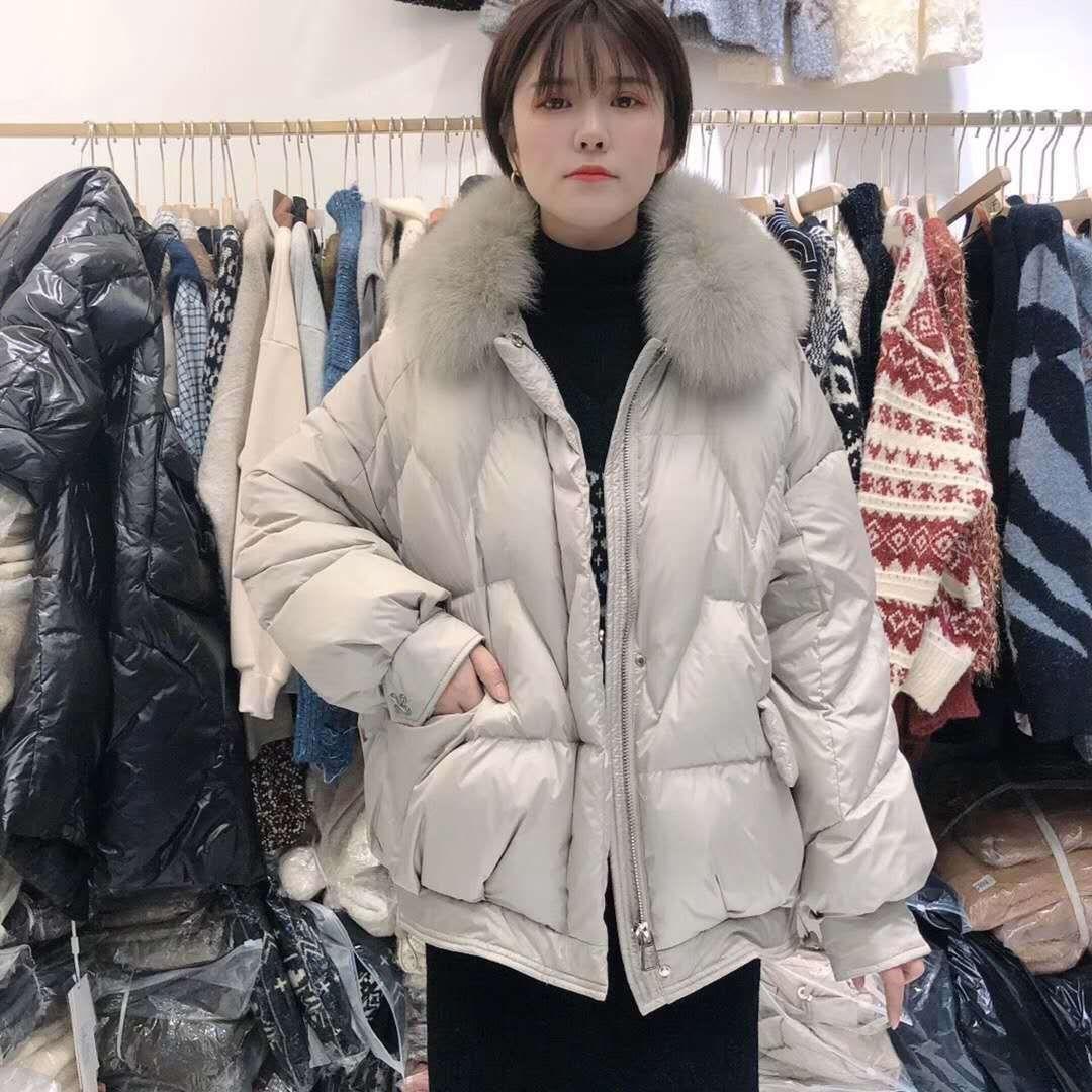 1vPwj куртка 2020 зима новый европейский Fox большой меховой воротник пальто вниз вниз короткий корейском стиле pNbiO женщин A- образный хлеб куртка утолщенной ша
