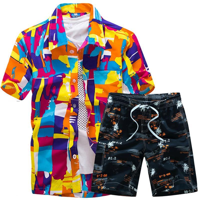 عالية الجودة قمصان الرجال هاواي مجموعة 2020 القمصان الأزهار الرجال + طباعة شاطئ السراويل قصيرة الأكمام رياضية أزياء الصيف مجموعات الذكور
