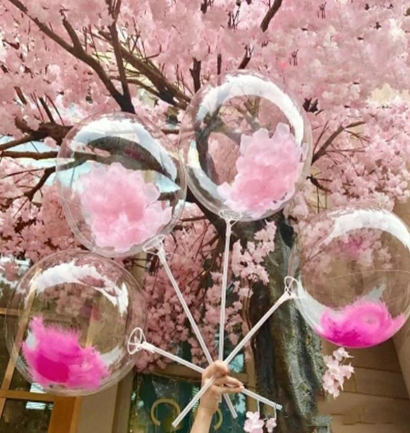 Bobo Decro plume à l'hélium transparent mariage 12/18 Cadeaux Stand Confetti Ballons gonflables pouces ballon Ballons de mariage Effacer iHHiF