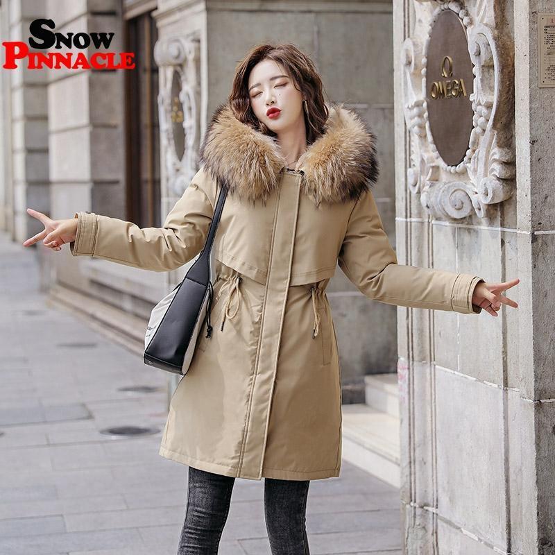 Kış Kadınlar Polar Parkas Artı Boyutu Kalın Sıcak Orta Uzun Kapüşonlu Parkas Ceketler Kürk içinde Kadın İnce Dolgu