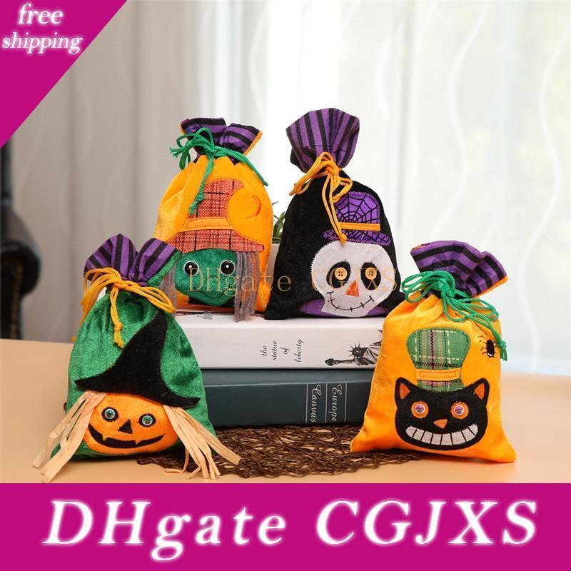 Halloween Tragetasche Kinder nicht gewebte Stoff Geist-Kürbis-Schädel-Süßigkeit-Geschenk-Tasche Halloween-Hexen Candy Bag