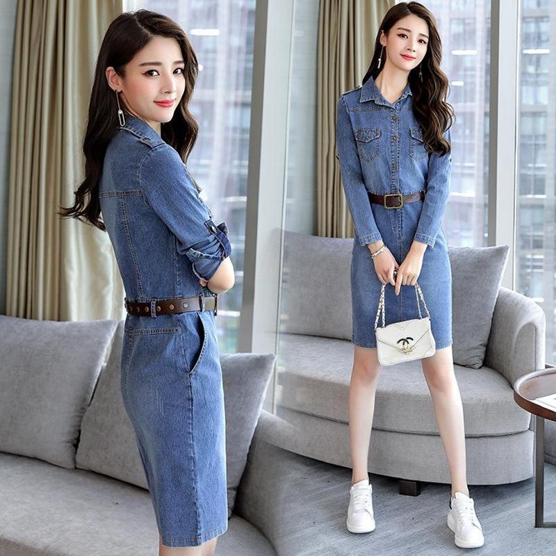 de mangas compridas denim de comprimento médio das Mulheres 2020 Primavera e Outono vestido novo estilo coreano moda elegante cintura emagrecimento hip vestido ydfI4