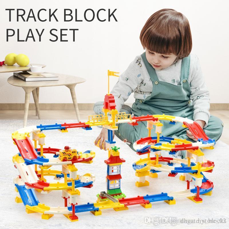 245pcs particelle più grandi blocchi colorati mattoni Track Play Set autoassemblanti Costruire vari stili circolare Interchange pista 02