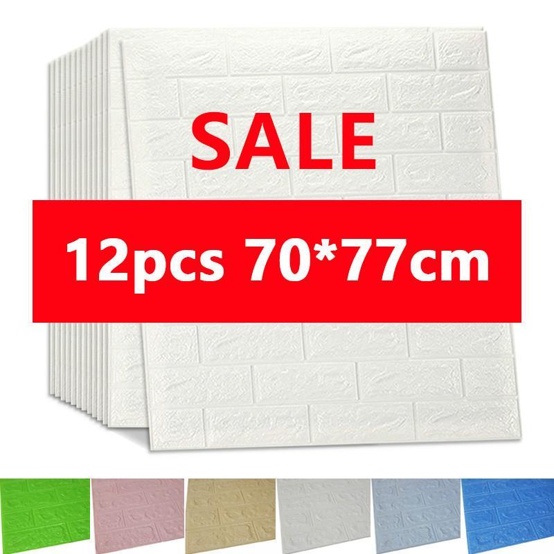 3D pegatinas de pared imitación de ladrillo Dormitorio Decoración impermeable del papel pintado para la sala de estar Cocina 77 * 70cm autoadhesivo