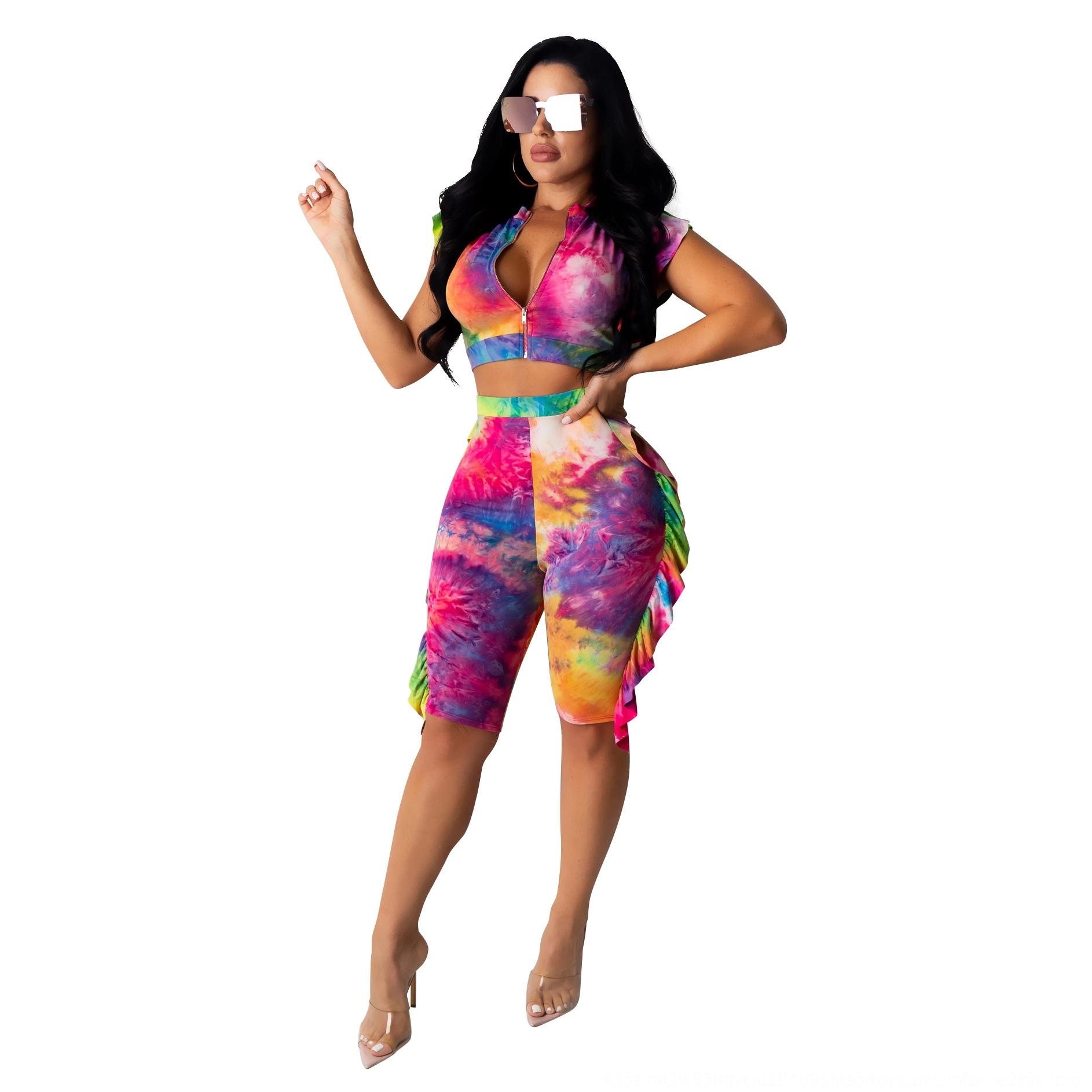 waFnT 2020 new printed cardigan Fashion suit 2020 new women's printed women's cardigan shorts Fashion Shorts digital Digital suit