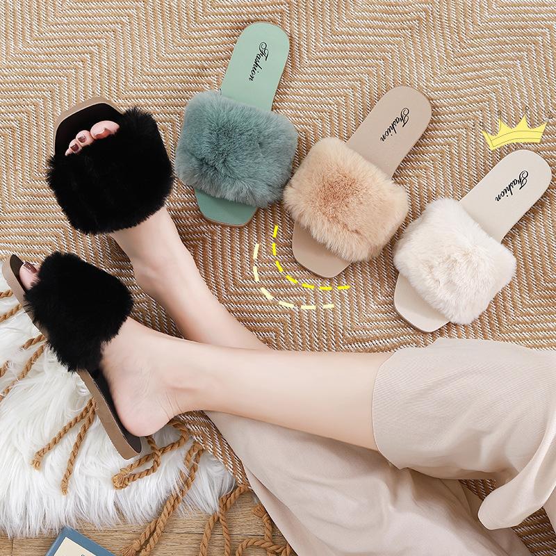 Fluffy Cabeludo Chinelos Feminino Faux Fur Slides antiderrapante Plush Slides passeio exteriores das mulheres clássicas Cabeludo Chinelos Sandálias Flat