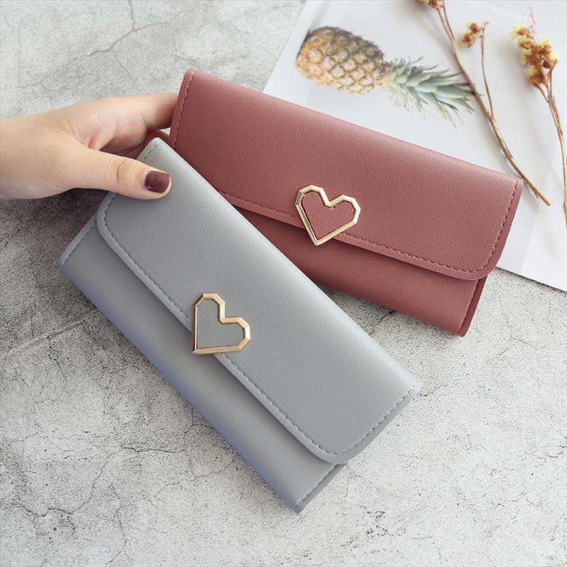 Yeni Sevimli PU Deri Çanta Kalp Dekorasyon Uzun Çoklu kart Cüzdan Cüzdan Toka Debriyaj Cep Telefonu Öğrenci Bayan Cüzdan şeklinde