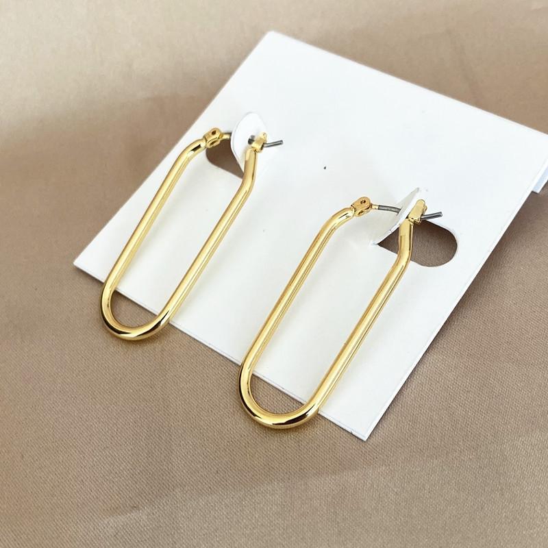 Jm2SR cuivre poli et élégant plaqué accessoires design en forme de U longue Earline boucle d'oreille en or 18 carats élégant cuivre poli et boucles d'oreilles plates