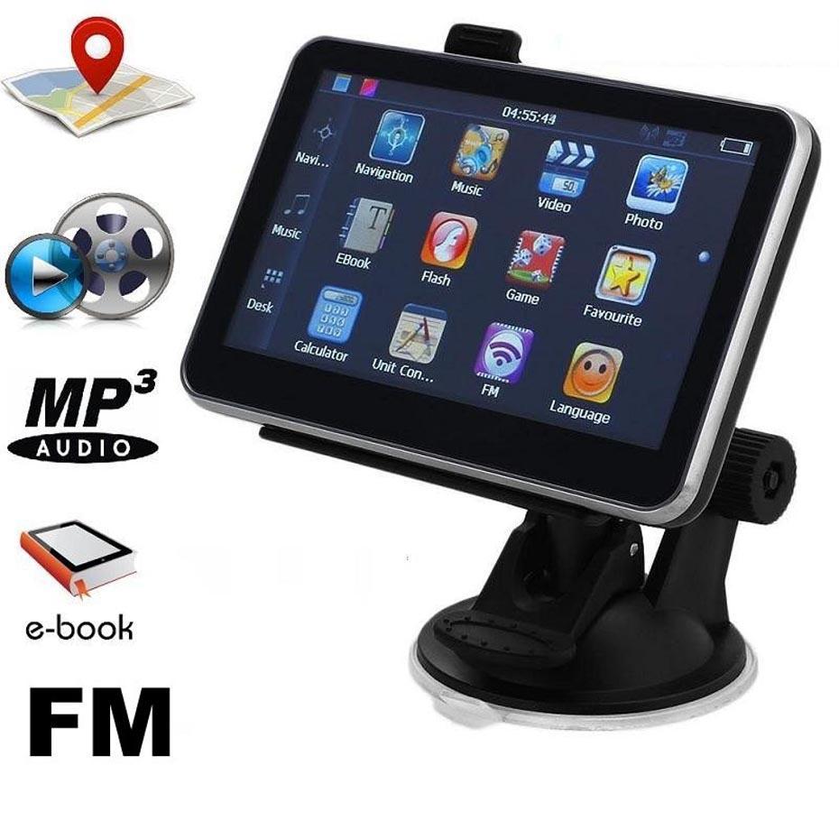 Portatile da 5 pollici GPS per auto Truck Navigation Auto Navigator con Bluetooth AV FM Transmitter 256MB + 8GB Free Multi-country Mps