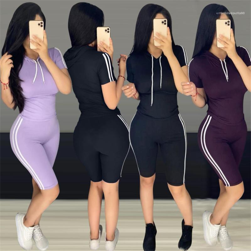 Bel çizgili 2adet Koşu Suits Kazak Kapşonlu Şort Giyim Kadın Yaz Tracksuits Tasarımcı High ayarlar Tops