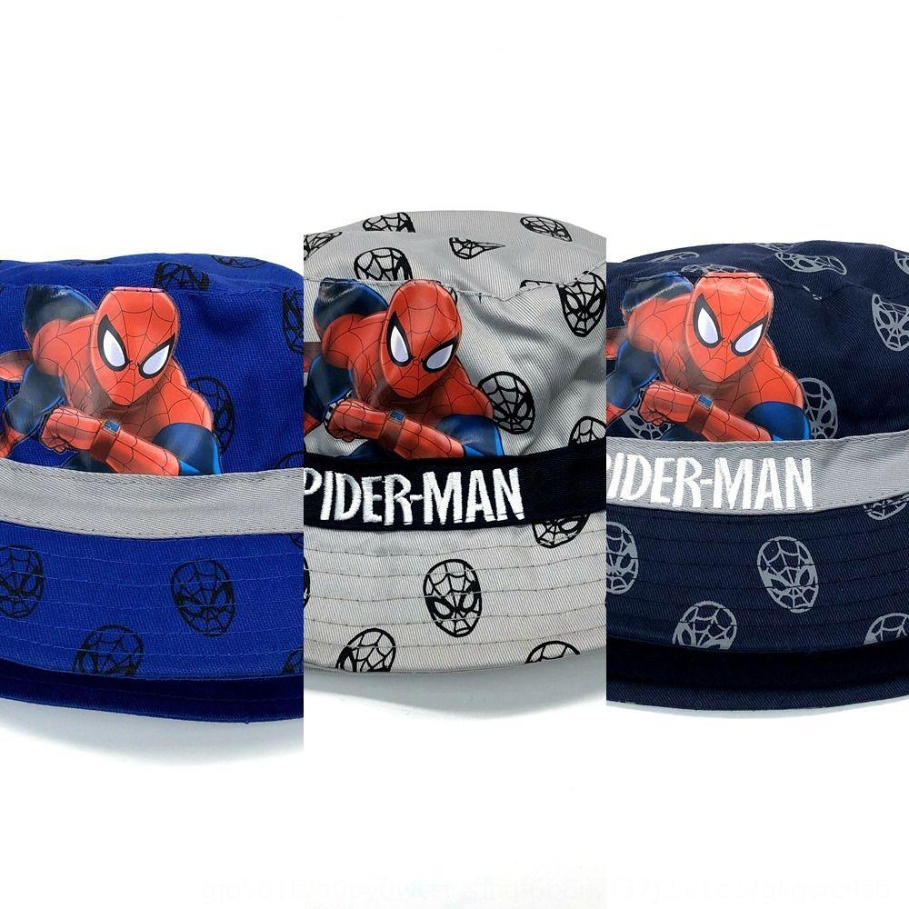 desenho animado infantil Primavera e Outono novos meninos pescador exterior guarda-sol chapéu Marvel Spider-Man bebê Balde chapéu pot XUBl1