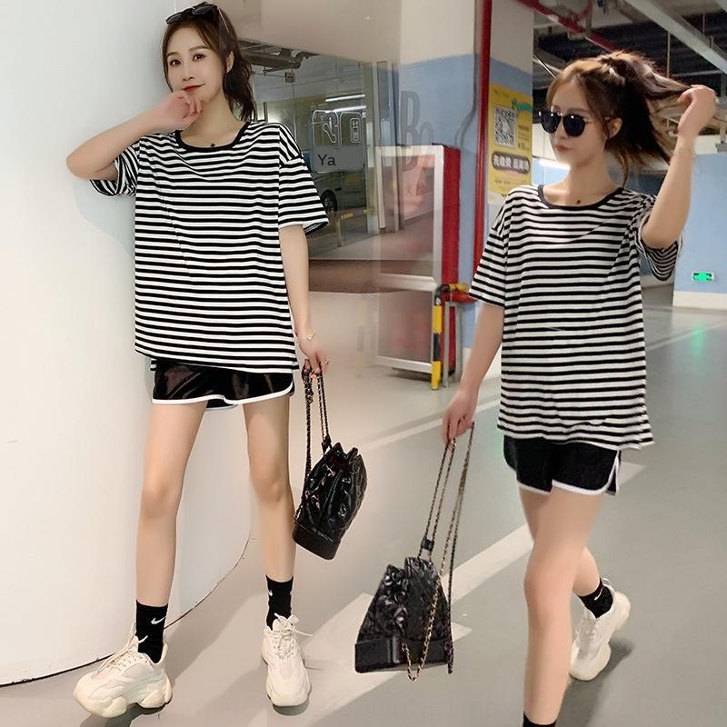 estate insieme dei vestiti di gravidanza fuori shi shang Kuan maternità vestiti vestiti di maternità alla moda 2020 Estate top MILF moda netta y hong