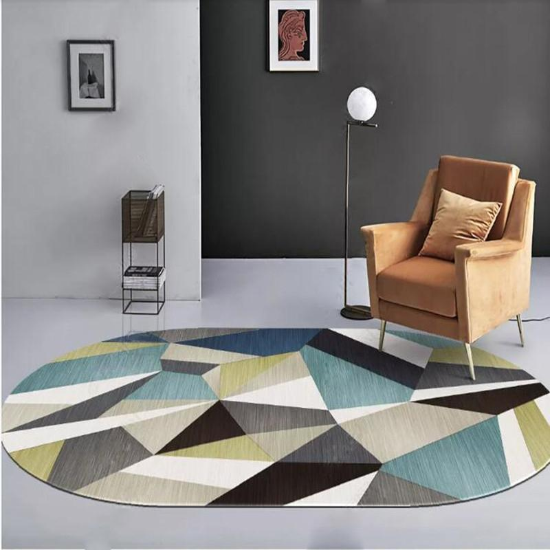 Moderne abstrakte geometrische Teppich Weinlese-ovaler Gedruckt Anti-Rutsch-Wasser-Absorptions-Polyester-Fußmatte Startseite Schlafzimmer-Dekor Zubehör