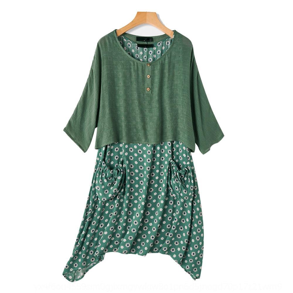 nr6P0 vCDAb Nischen-Design Kleid neuen Gänseblümchendruck Rundhalsausschnitt Feder zweiteilige unregelmäßigen abnehmen Kleid Pullover Pullover verlieren