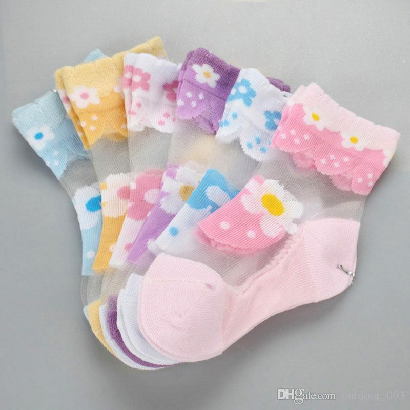 Children's Crystal Socks Girls' Socks Thin Ice Silk Female Baby Transparent Lace Thin Section Stockings Stretching Tube Princess S