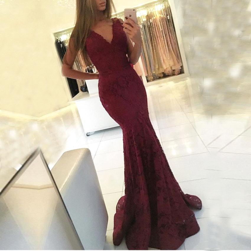 Caliente del cordón de Borgoña Vestidos de Fiesta de la sirena vestidos de baile Sexy cuello en V de los vestidos largos de noche formal BA6827