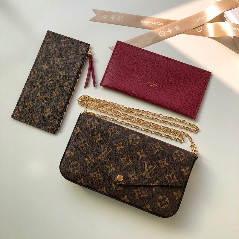 GOCCIA SHIP Nuove Borse della catena di modo Genuine Leather Shoulder Handbag presbiti Portafogli mini mobile della carta modello Holder M61266