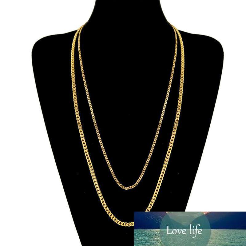 Мода 3MM 5MM 60CM 70CM Мужчины из нержавеющей стали желтого золота / белое золото покрыли Hiphop кубинской Цепочка Unisex ожерелье Мужчины Женщина NL-231