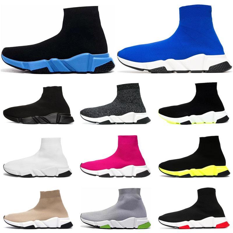 sock shoes zapatos casuales para hombre triples negros blancos zapatillas de deporte azul marino de la vendimia calcetines formadores de plataforma