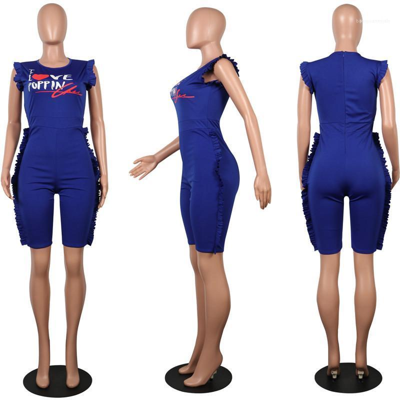 Taille Plus extensible Tenues Jaune Bleu Taille S XXL Femmes d'été Designer Tenues Lettre Fungus Imprimé Slim barboteuses Maigre Coton