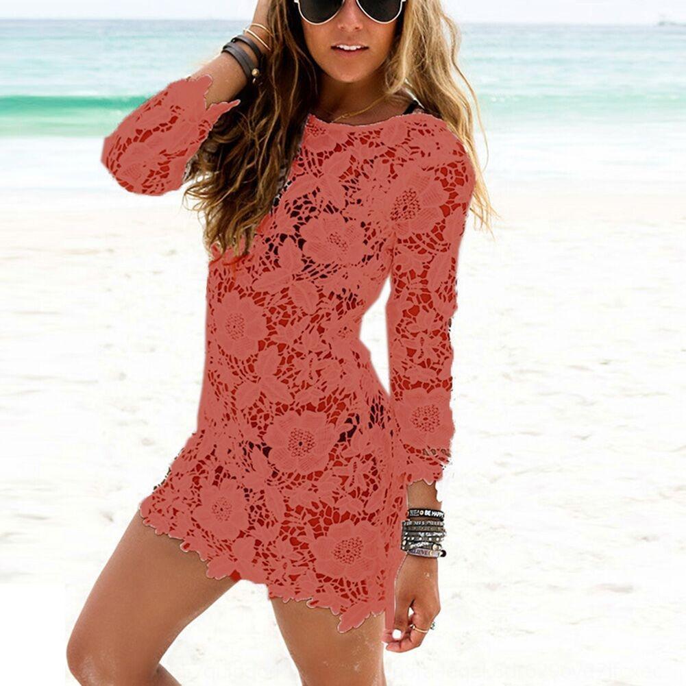 A9NGi 2g2h9 2020 круглый бикини сексуальные кружева крючком пляж юбка шеи платье блузка пляж бикини 9077