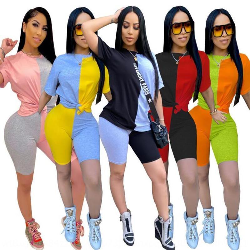 contraste de cor de 2020 das mulheres apertado sexy ocasional 2020 Verão novo contraste da cor das mulheres apertado ocasional sexy verão terno novo terno 420j9