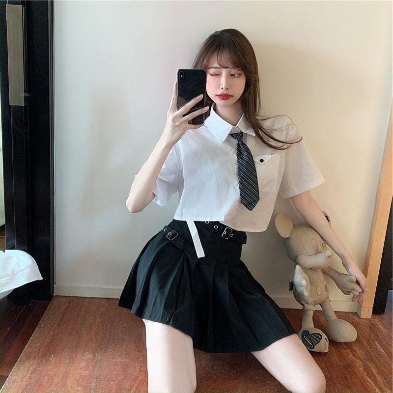 CXPgG 2020 Summer design de mode newstyle courte chemise de style occidental vieillissement taille haute jupe plissée de stylewomen femmes d'été pour les femmes