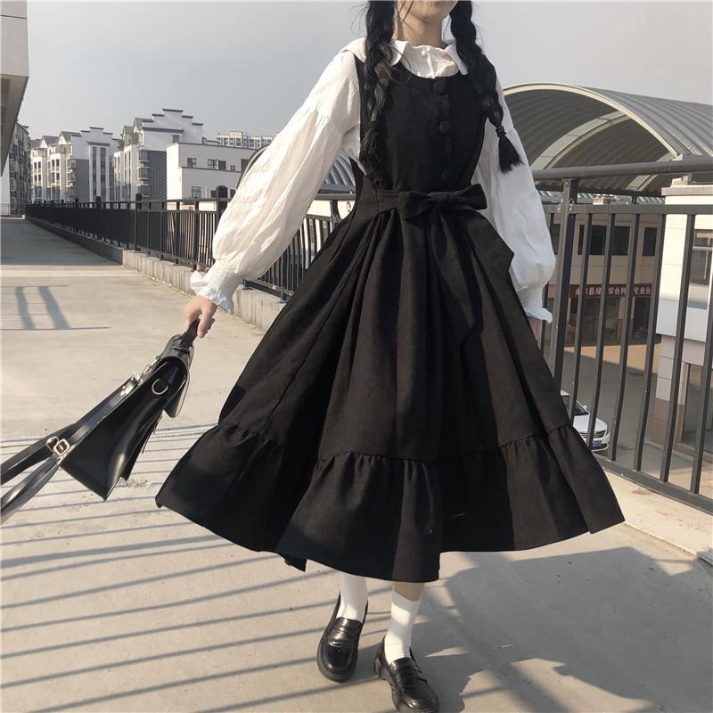Japanese College-Art-süße hohe Taillen-Straps gekräuselte Bügel-Kleid zwei Farben + weißes Hemd SuitLolita Art-Frauen Kawaii Kleidung