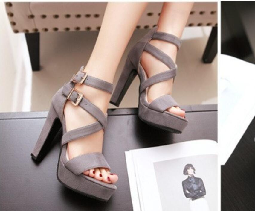 Europe and the United States sandal shoes fashion summer Roman style cross strap sexy peep-toe high heel women holiday gift