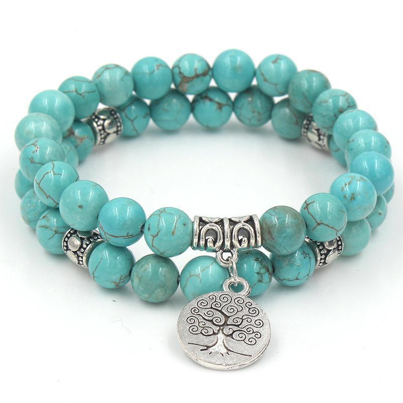 Albero della Vita di fascino del pendente Yoga Mala 100% naturale di Howlite della pietra in rilievo elastico Stacking paio braccialetto set di gioielli
