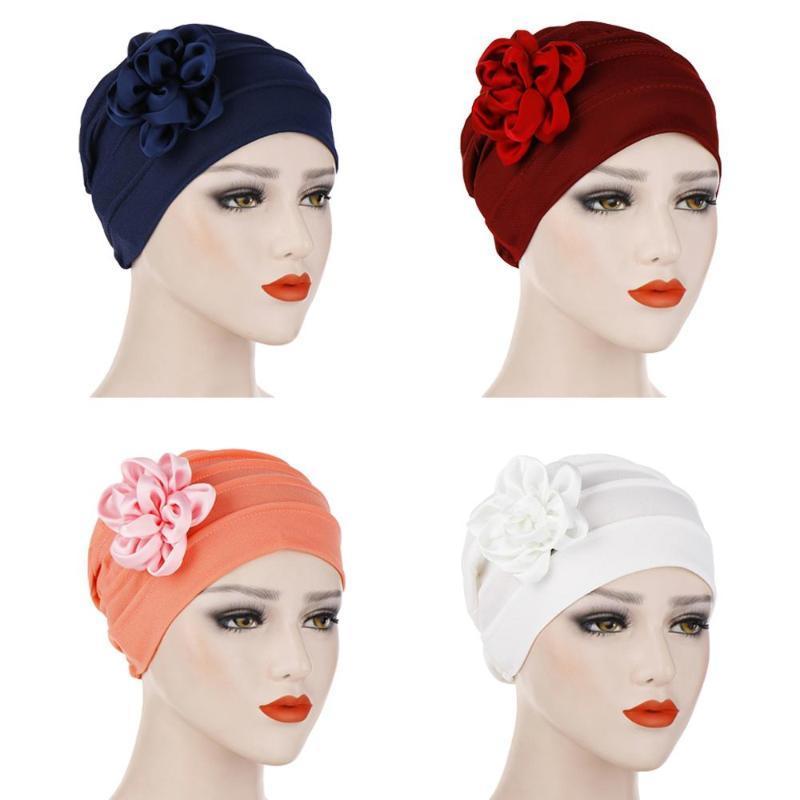 Cap Cancer Índia Hat Mulheres Flor muçulmana Turban Beanie Skullies Bonnet Lenço Chemo Enrole islâmica árabe Bandanas Moda