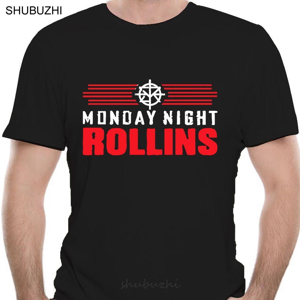 Verão Tops Monday Night Rollins T-shirt Wrestling Seth Camiseta Homens Estilo Moda Verão Camisetas Top Tee Algodão Camiseta Sbz196